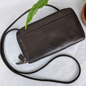 Fossil Leather Cross-Body Wallet